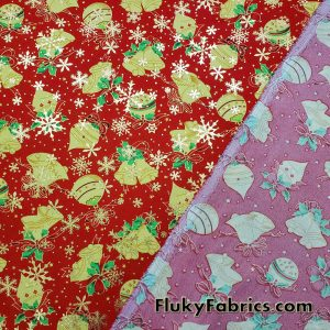 Christmas Ornaments and Gold Lurex Snowflakes on Red Polyester Woven Fabric  Fabric
