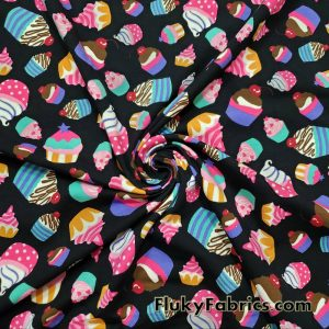 Cotton Lycra Fabric Colorful Cupcakes 4 Way Stretch for Apparel, Baby Items, Headbands