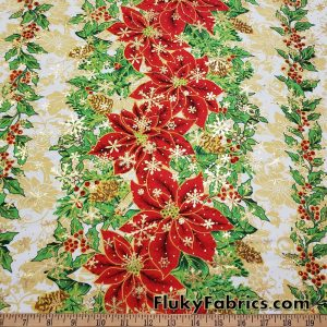 Red Poinsettias and Green Leaves with Gold Lurex Snowflakes on White Polyester Woven Fabric