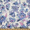 Flowers and Vines Print on White Lightweight Nylon Spandex Swimwear Fabric