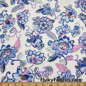 Flowers and Vines Print on White Lightweight Nylon Spandex Swimwear Fabric