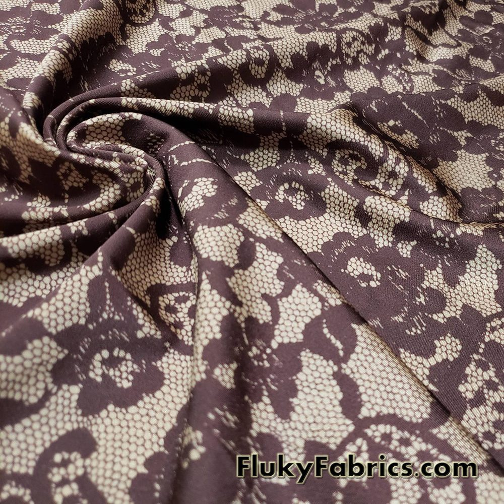 Shades of Brown Faux Lace Poly Spandex Fabric  Fabric