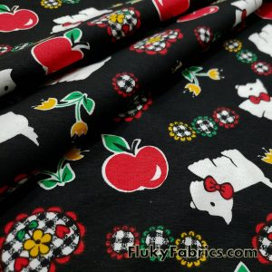 Small Dogs, Apples, Flowers and Hearts on a Black Background Cotton Lycra Fabric