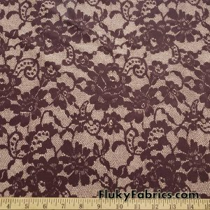 Shades of Brown Faux Lace Poly Spandex Fabric