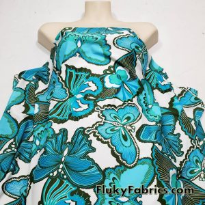 Turquoise Green Butterflies (18″x58″) 1/2 Yard Cuts Nylon Spandex Fabric