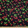 Red Cherries on Black Cotton Woven Fabric – Slightly Flawed –