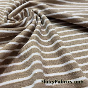Green Brown and White Mini Stripes with Gold Lurex Accents Rayon Spandex Jersey Fabric