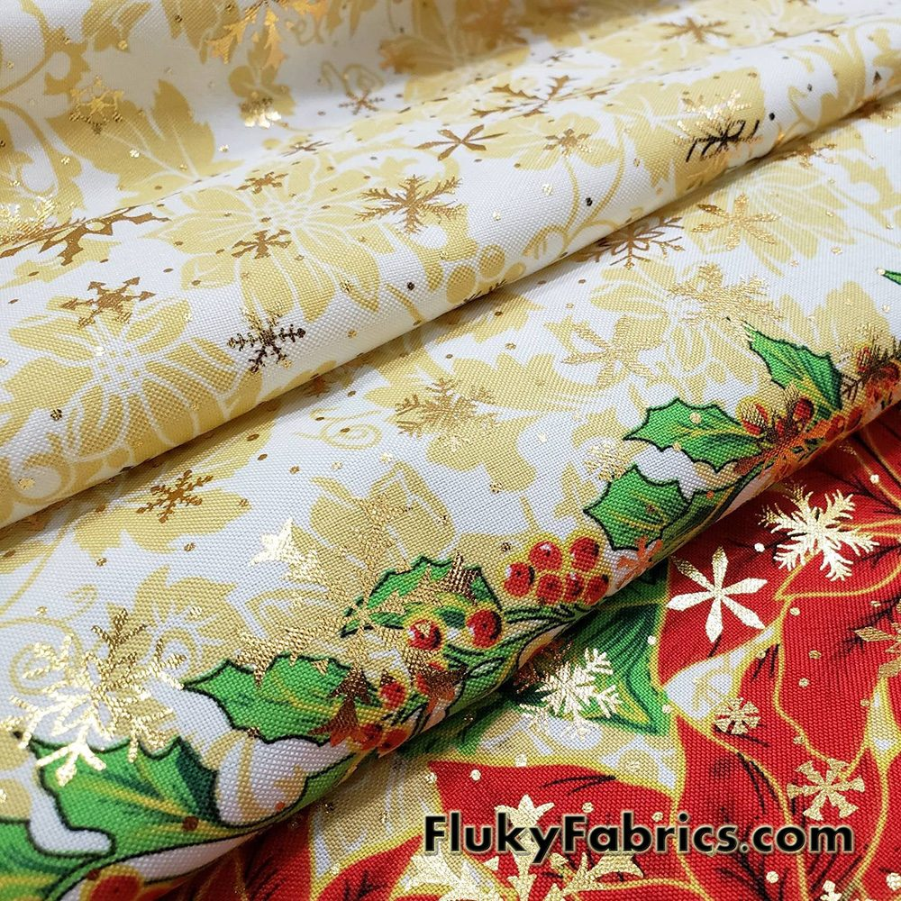 Red Poinsettias and Green Leaves with Gold Lurex Snowflakes on White Polyester Woven Fabric  Fabric