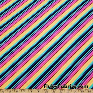 Colorful Diagonal Mini Stripes Swimwear Spandex 4 Way Stretch Bathing Suit Fabric. Cuts of 31″ x 58″/60″
