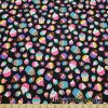 Small Dogs, Apples, Flowers and Hearts on a Black Background Cotton Lycra Fabric  Fabric