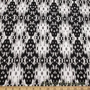 Ikat Black and Off White Cotton Lycra Apparel Fabric