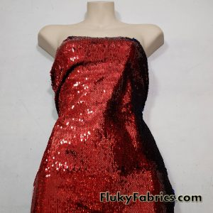 """Red/Royal Hologram Flip Up Sequins on Spandex Fabric 54"""" Wide  Fabric"""