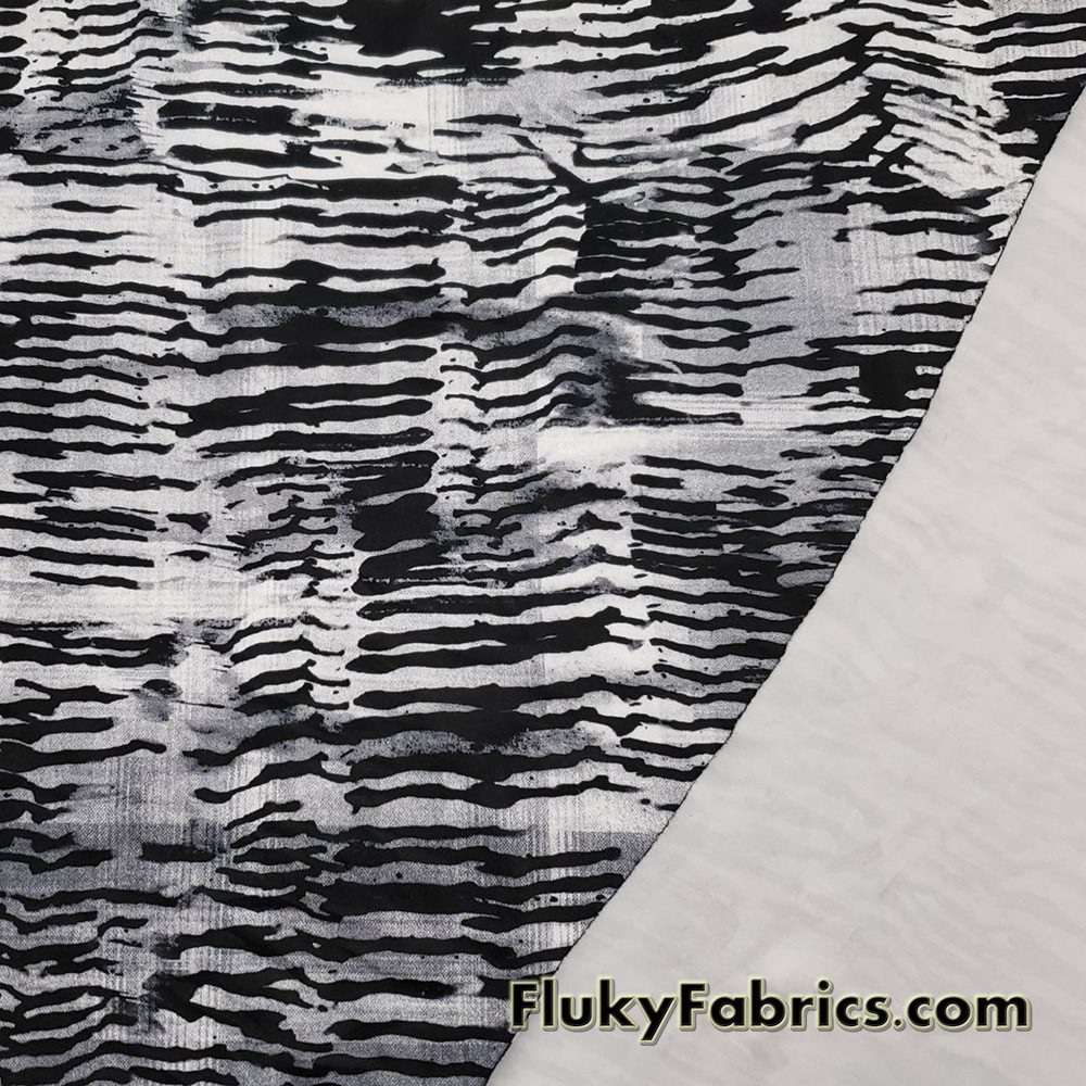 Abstract Black and Gray Swimsuit Nylon Spandex Fabric  Fabric