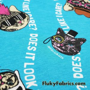 Cool Cats Cotton Jersey, Does It Look Like I Care? David and Goliath Print Cotton Knit Fabric