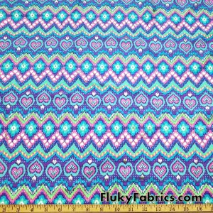 Bright Colors Zig-Zag, Hearts and Daisies with Silver Lurex Accents Nylon Spandex Fabric