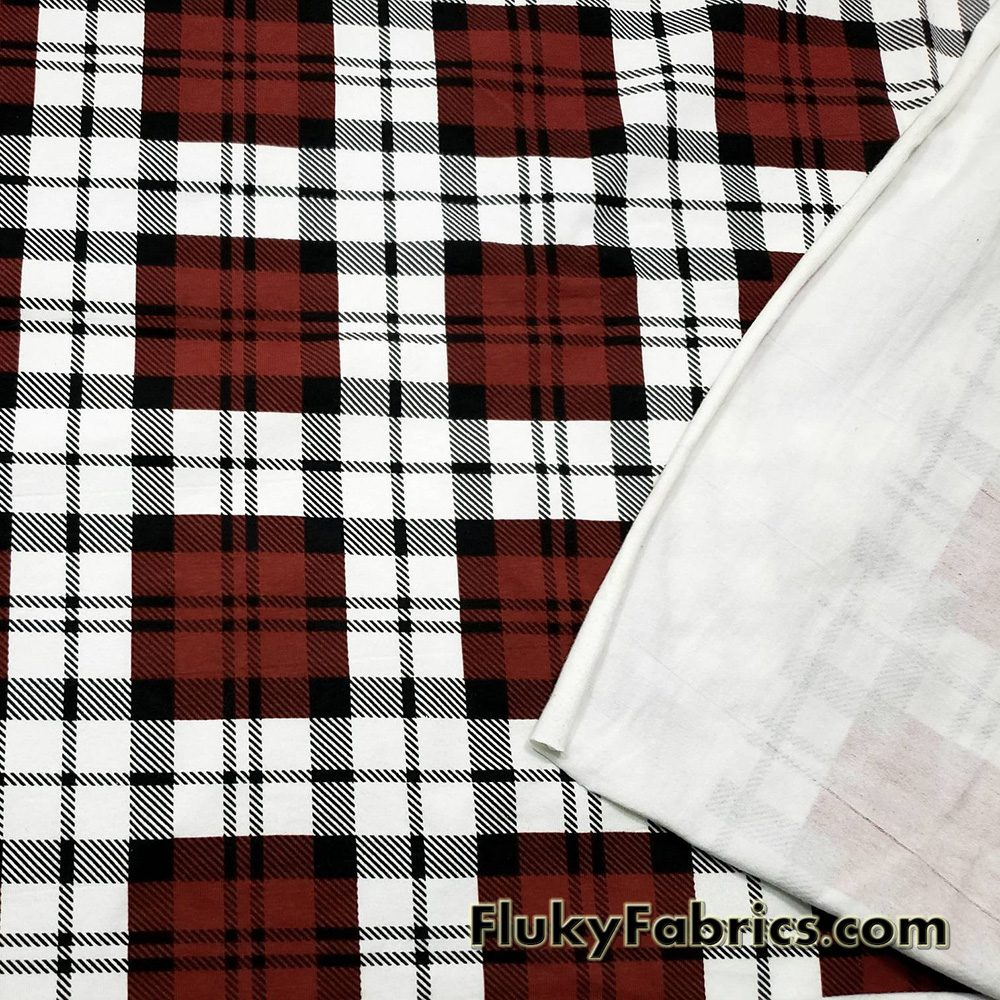 Plaid Maroon, Black, and Off White Print Cotton Lycra Fabric  Fabric