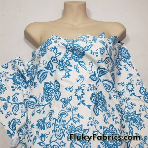 Turquoise Blue Flowers, Vines and Leaves on a White Background Nylon Spandex Fabric  Fabric