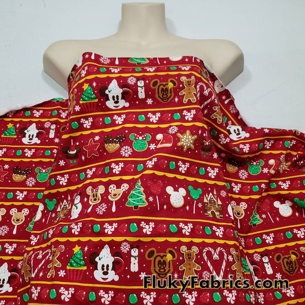 Gingerbread, Cookies, Candy Christmas Treats and Everyones Favorite Mouse on Red Print Cotton Jersey  Fabric