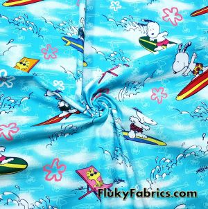 Cool Surfer Snoopy and Woodstock Cotton Woven Print Fabric