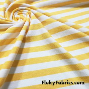 Yellow and White Yarn Dyed Stripe Cotton Lycra. 3/8″ Stripes 4 Way Stretch Fabric
