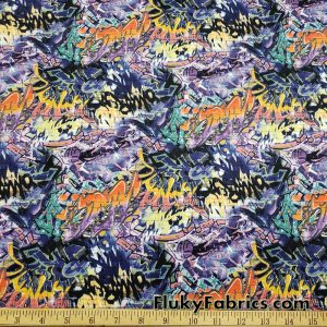 Graffiti Print Poly Spandex Fabric
