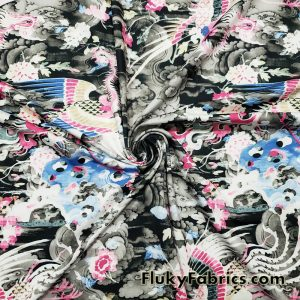 Fantasy Phoenix in Abstract Skies Swimwear Nylon Spandex Fabric  Fabric