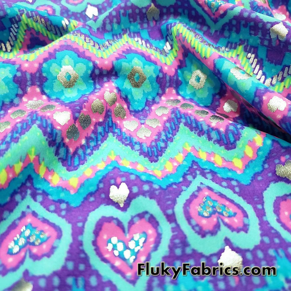 Bright Colors Zig Zag, Hearts and Daisies with Silver Lurex Accents Nylon Spandex Fabric  Fabric