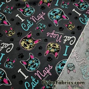 """Cat Faces and Paws Cotton Jersey """"I Cat Naps"""" David and Goliath Print Knit Fabric  Fabric"""
