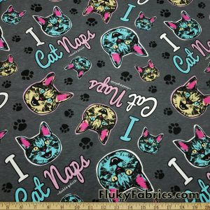 "Cat Faces and Paws Cotton Jersey ""I Cat Naps"" David and Goliath Print Knit Fabric"