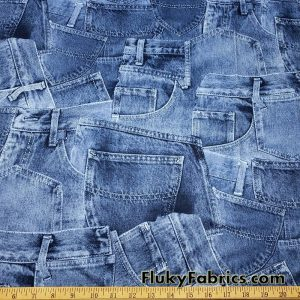 Blue Denim Jeans Pockets Print Poly Spandex Fabric
