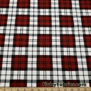 Plaid Maroon, Black, and Off White Print Cotton Lycra Fabric
