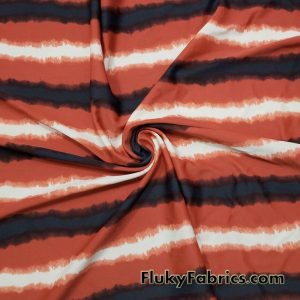 Rust, Ivory, Dark Gray, Black Stripes Print Nylon Spandex Fabric