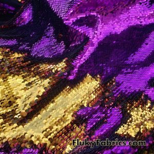 Magenta/Gold 5mm Shiny Flip Up Sequins on Black Spandex Fabric 54″ Wide