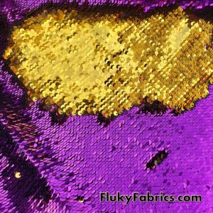 """Magenta/Gold 5mm Shiny Flip Up Sequins on Black Spandex Fabric 54"""" Wide  Fabric"""