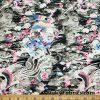 Abstract Magenta and Black Dragon Skin Print Poly Spandex Fabric  Fabric