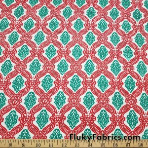 Christmas Pattern Red, Green and White Print Cotton Rib Fabric