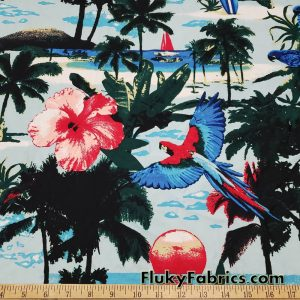 Tropical Flowers, Sunset, Beaches and Birds Print Nylon Spandex Swimsuit Bikini Swimwear Fabric