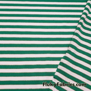 Green and White Stripes with Gold Lurex Accents Poly Cotton Knit Fabric  Fabric