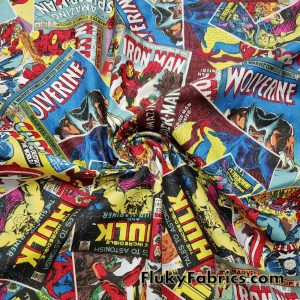 Superhero Comic Books Print 45″ Wide Cotton Woven Fabric