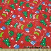Christmas Motifs on a Red Background Cotton Rib Fabric