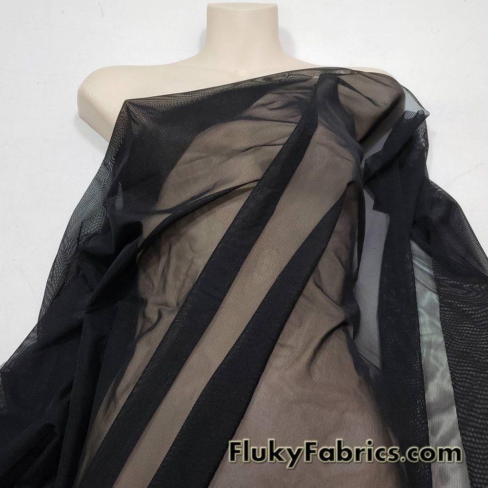 Black 4 Way Stretch Mesh Nylon Spandex Fabric  Fabric