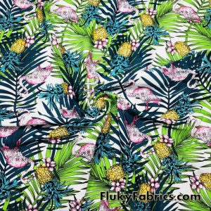 Tie Dye Flamingos, Pineapples and Tropical Foliage Nylon Spandex Fabric