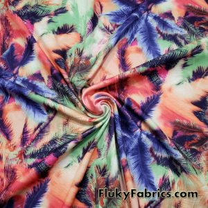 Colorful Abstract Palms Print Ponte de Roma Knit Fabric