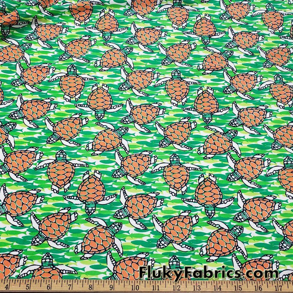 Swimming Turtles and Fish Print Swimsuit Nylon Spandex Fabric  Fabric