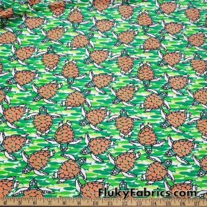 Swimming Turtles and Fish Print Swimsuit Nylon Spandex Fabric