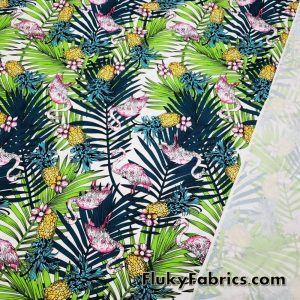 Tie Dye Flamingos, Pineapples and Tropical Foliage Nylon Spandex Fabric  Fabric