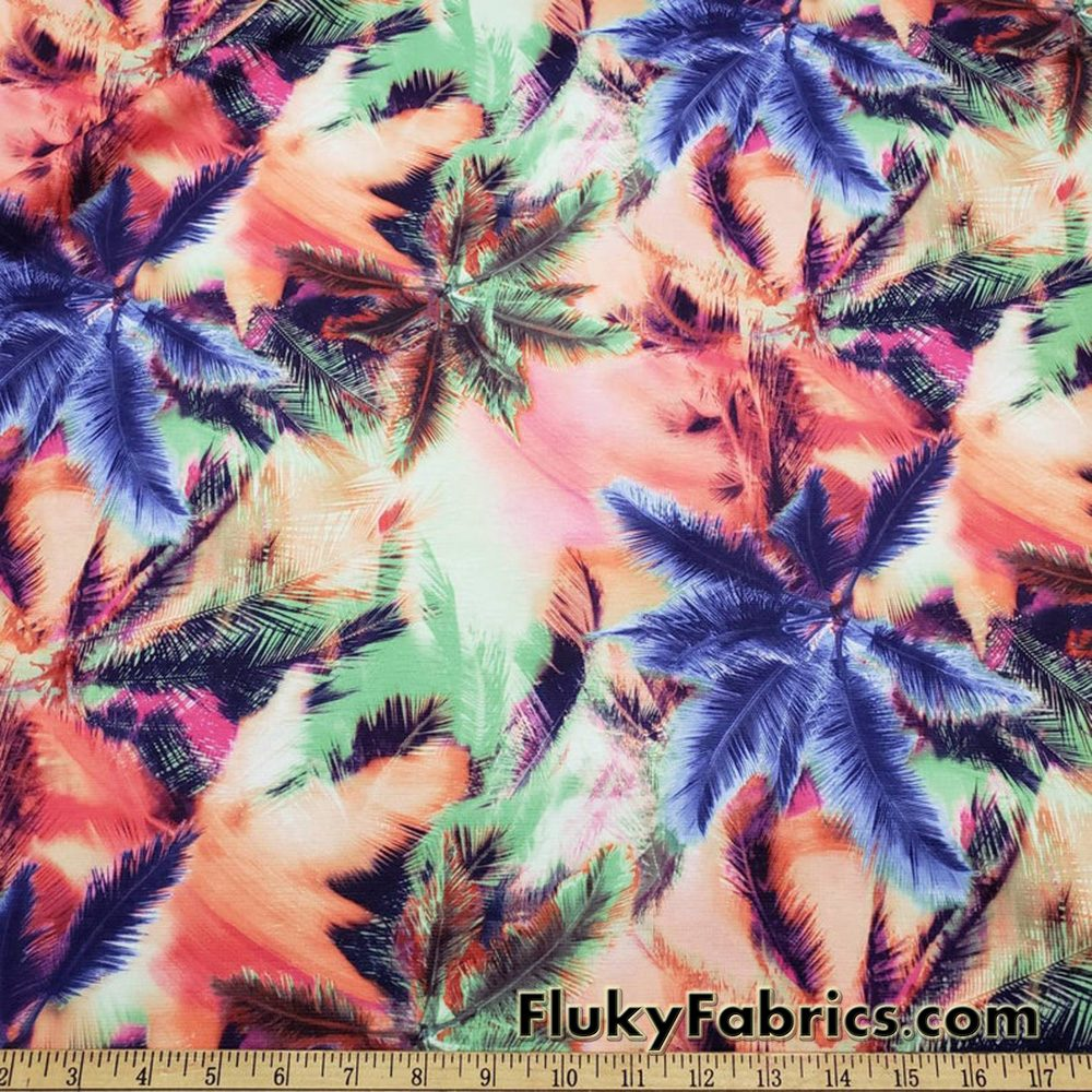 Colorful Abstract Palms Print Ponte de Roma Knit Fabric  Fabric