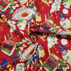 Italian Foods Print on Red Cotton Woven Apparel Fabric
