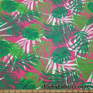 Tropical Leaves Print on Hot Pink Swimsuit Nylon Spandex Fabric