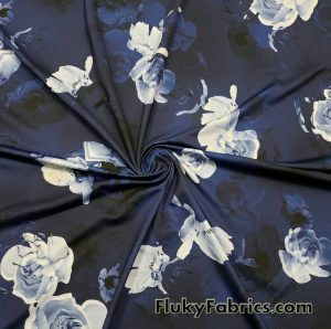 Shades of Blue Ghostly Flowers Lightweight Nylon Spandex Fabric  Fabric